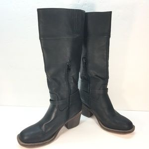 XOXO Womens Knee High Boot Faux Leather Black Sz 6